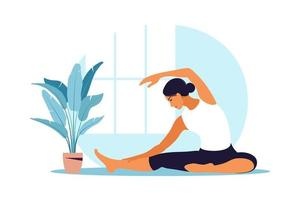 Young woman practices yoga. Physical and spiritual practice. Vector illustration in flat cartoon style.