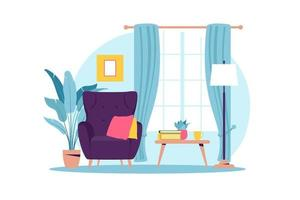 Interior of the living room with furniture. Modern armchair with mini table. Flat cartoon style. Vector illustration.