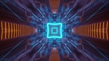 túnel quadrado com mudança de ornamento ilustração 3D video