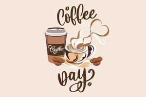 día internacional de la fiesta del café vector