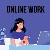 Online work. Remote work. Business illustration vector