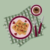 Breakfast waffles and coffee top view