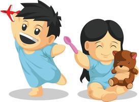 Paciente pediátrico niño recuperado jugando dibujo de ilustración de dibujos animados vector