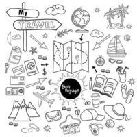 Doodle conjunto de iconos de vector de viaje