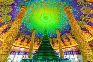 Bangkok, Thailand 2020- Inside view of green colored pagoda inside a Buddhist temple