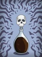 Poison Elixir Deadly Witch Potion Cartoon Concoction Vial Drawing vector