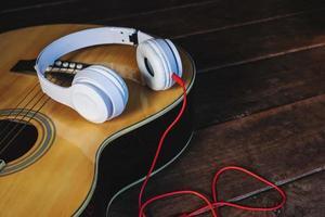 Headphones on a guitar