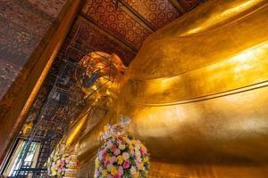 Bangkok, Thailand 2020- Inside view of the Wat Pho Golden Big buddha statue under construction