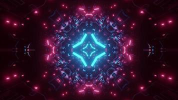 Dark Tunnel 3D Illustration with Neon Illumination video
