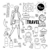 Tourist man with doodle collection of travel items vector