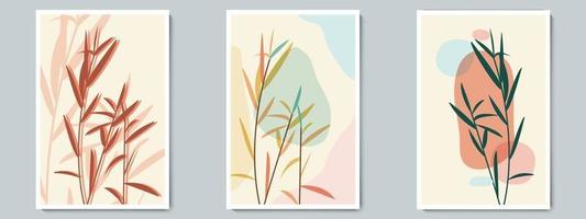 Botanical Wall Art Vector Poster Spring, Summer Set. Minimalist Bush with Abstract Simple Shape