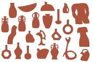mano dibujar silueta jarrón de cerámica, vajilla de barro y ollas. collage de moda para la decoración en estilo ecológico. vector