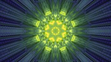 Ilustración 3d de adorno de neón brillante en túnel