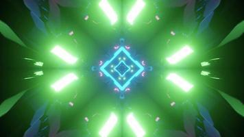 ilustração 3D de túnel geométrico com lâmpadas de néon brilhantes