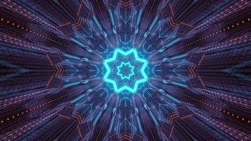 Ilustração futurística em forma de estrela 3 d em túnel escuro
