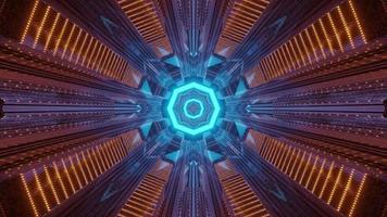 Ilustración 3d de túnel con adorno cambiante