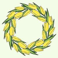 marco circular con tulipanes amarillos. círculo con flores de color amarillo brillante. vector marco floral, redondo.