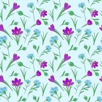 Seamless pattern with different colors. Seamless repeating pattern with spring flowers. Vector. vector