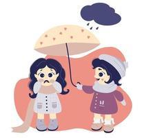 la niña esconde a una niña llorando debajo de un paraguas. el concepto de asistencia mutua y bondad. niños con ropa de invierno: sombrero, bufanda, abrigo y botas vector