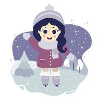Cute girl ice skating on a blue decorative background with a winter landscape vector