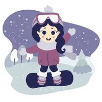 Winter sport. Cute girl is snowboarding and waving. vector