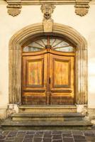 Old vintage wooden and metal door photo