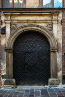 Old vintage wooden and metal door