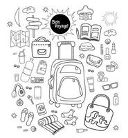 Doodle conjunto de objetos de viaje