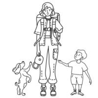 Tourist family of mom, kid, and dog on a trip vector