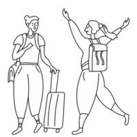 Line drawing two joyful girls tourists. One with a bag on his shoulder and a suitcase on wheels. vector