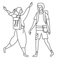 Linear outline drawing girl and guy tourists. She rejoices at the meeting, raised her hands and a small backpack vector