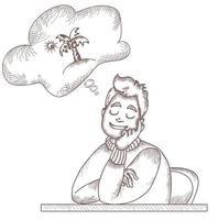 un hombre sentado a la mesa está descansando, cerró los ojos y sueña con descansar en la isla. encima hay una nube con una imagen de palmeras. línea vectorial y trazos vector