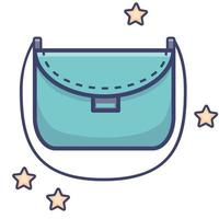 Luggage - beautiful turquoise womens shoulder bag. Vector. vector