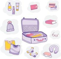 Set of vector drawings of luggage, clothes and things for travel and vacation.