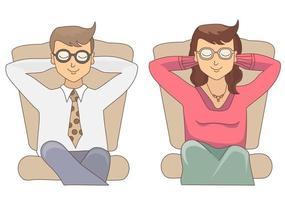 un hombre y una mujer sentados en un sillón soñando con algo, cerrando los ojos. vector