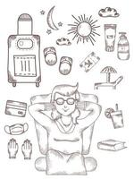 A girl sits and dreams with her eyes closed. Above it are different pictures of what you need to relax - the sun, a suitcase on wheels, cream, tickets. Hand drawn. vector