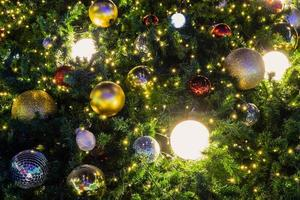 Christmas tree baubles and lights photo
