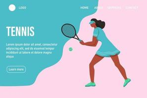 A young afro woman playing tennis. Website homepage landing web page template. A flat character. Vector illustration.
