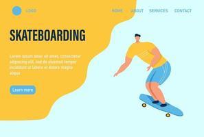 un joven o un adolescente monta una patineta. página de inicio del sitio web plantilla de página web de aterrizaje. ilustración vectorial plana. vector