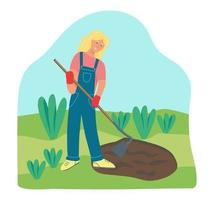trabajos de jardinería. una mujer joven está trabajando en el jardín, rastrillando el suelo. ilustración vectorial plana. vector