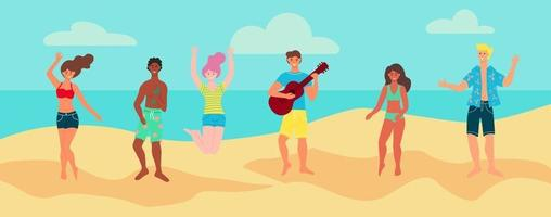 Young people in summer clothes at the beach. The concept of beach parties. Advertising banner, poster, postcard, flyer. Flat cartoon vector illustration.