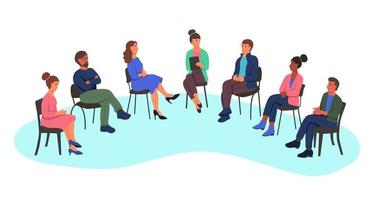 Men and women at a psychologist's appointment, the concept of group therapy, working in a group, a survey. People sit on chairs in a semicircle. Flat cartoon vector illustration.