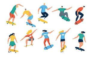 mujeres y hombres jóvenes en patineta. niñas y niños adolescentes o patinadores en patineta. personajes de dibujos animados aislados sobre fondo blanco. ilustración vectorial plana. vector