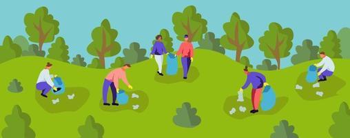 gente recogiendo basura en el parque. vector