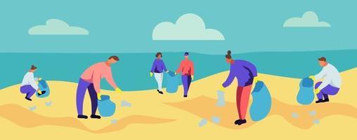 gente recogiendo basura en la playa. vector