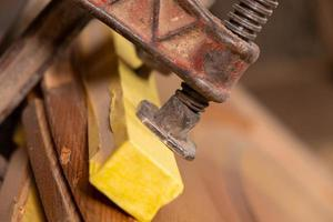 Gluing wood with clamps photo