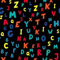 Seamless pattern of multicolored letters on black background. Vector illustration.