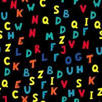 Seamless pattern of multicolored letters on black background vector