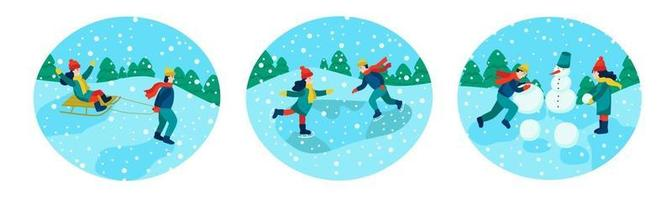 Winter holidays. Children playing outdoors vector