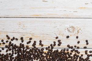 Coffee beans on a wooden table, love drinking coffee concept photo